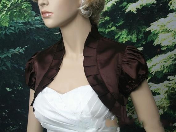 Top Sale Off-White Brown Satin Wedding Bolero Bridal Jacket Short Sleeve Satin Wedding Bolero Jacket Shrug Wedding Wraps