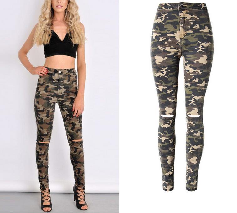 New 2017 Fashion Women Pants Female Casual Military Denim Trousers Tight Camouflage Pants Women pencil pants