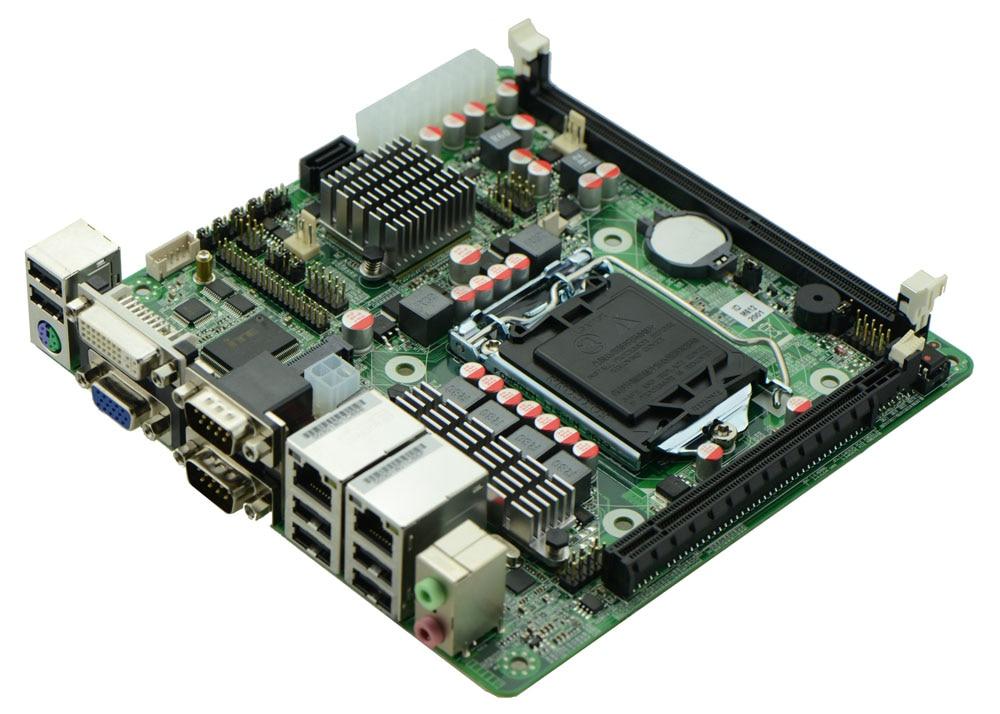 Industriel embarqué H61 Mini ITX support de la carte mère LGA1155 Intel Core i3/i5/i7 Pentium 22nm/32nm CPU avec 9 * USB/6 * COM