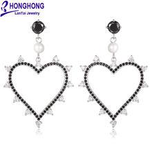 Honghong 2018 большое сердце искусственное для женщин сверкающие