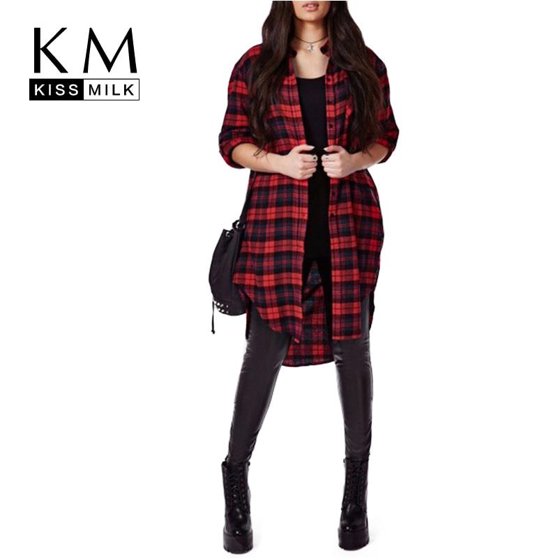 Kissmilk plusz méretű új divat színe blokk kockás nők magas alacsony gomb lefelé teljes ujjú pamut hosszú blúz 3-6XL