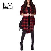 Kissmilk Plus Size New Fashion Women Stepped Hem Button Down Long Sleeve Big Size Check Cotton Long Blouse 3XL 4XL 5XL 6XL