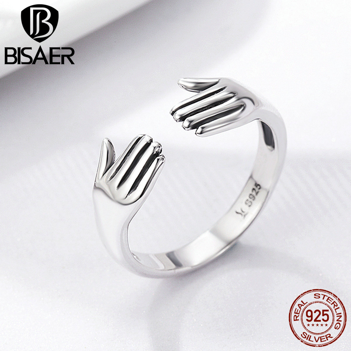 Design New 100% 925 Sterling Silver Ring Give Me A Hug Hand Open Finger Rings for Women Authentic Silver Jewelry Gift Anel Gift authentic xiaomi instant me 100