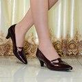 Calidad de Hight talones med zapatos de cuero genuino de las mujeres Clásicas bombas de punta estrecha Sexy zapatos de vestir de oficina zapatos de las señoras 258-125