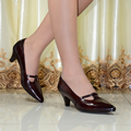 Hight quality women's genuine leather med heels shoes Classic Sexy Pointed toe pumps dress shoes for office ladies shoes 258-125