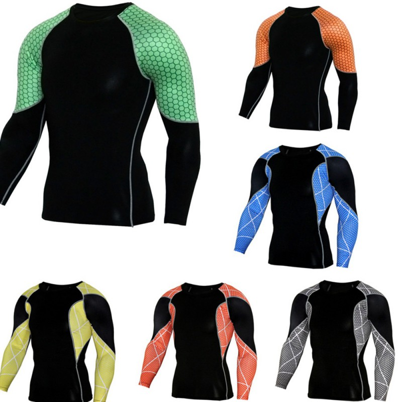 Men Running Compression Long Sleeve T-shirt Muscle Bodybuilding Plain Quick-Drying Clothes Sport Cross Fitness Shirts