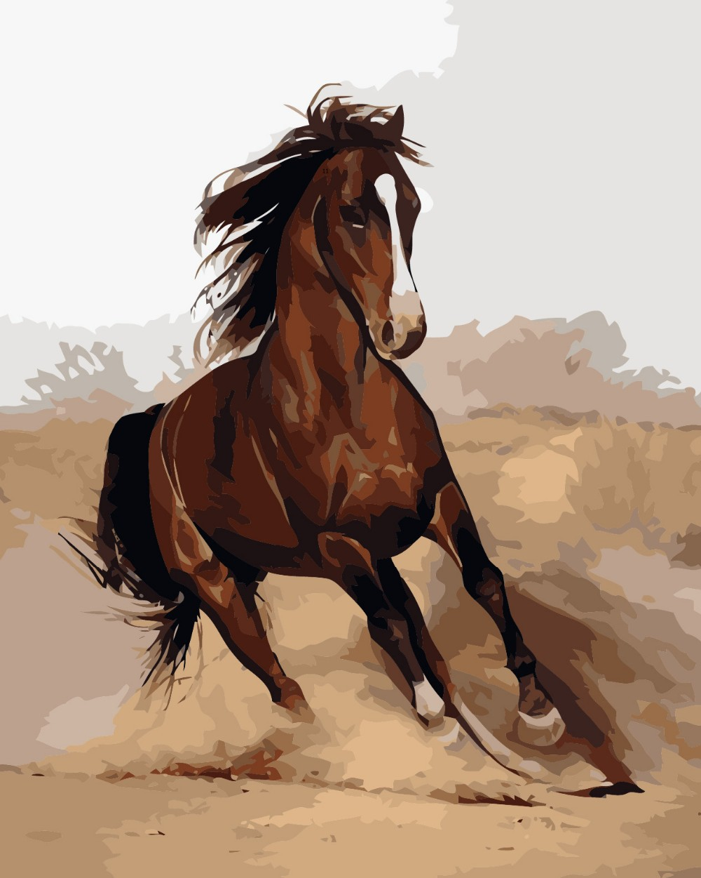 2015 Horse Digital Acrylic Paint Kit Oil Painting By Numbers Framed On Canvas Home Room Decor