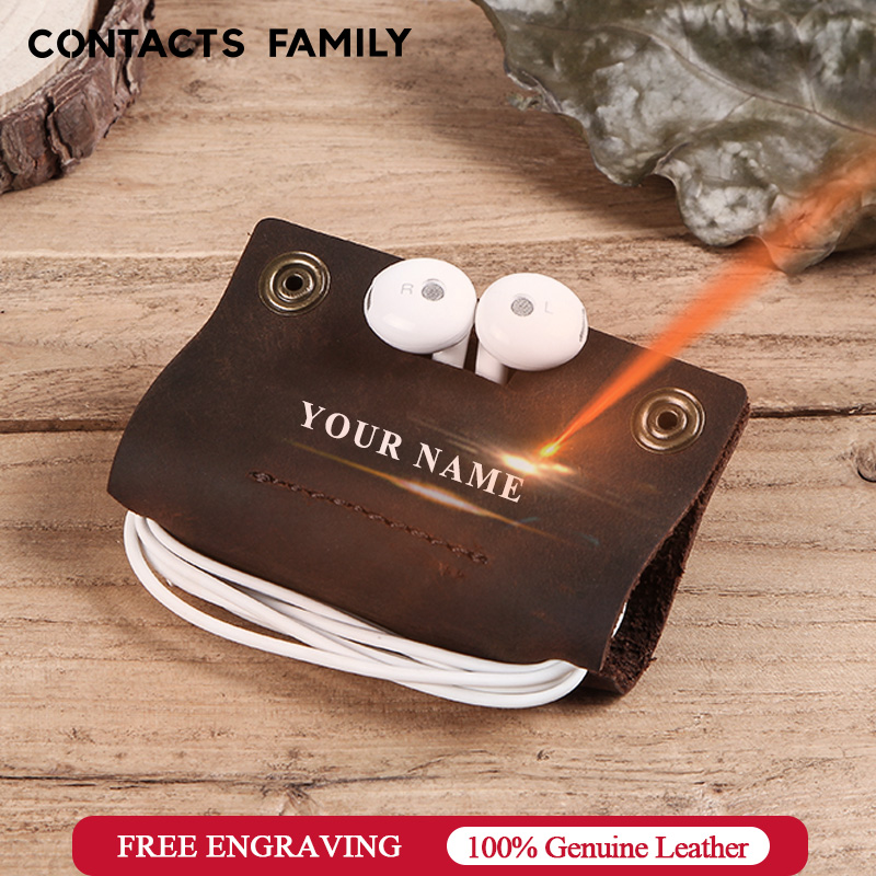 Luxury genuine leather earphone cable organizer wire winder for Earphone USB protector management holder mini personalized
