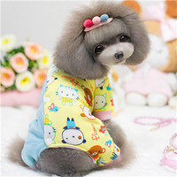 The New Warm Winter Clothing Section Legs Upscale Pet Baby Ducklings Spell Color Cotton Pajamas Pet