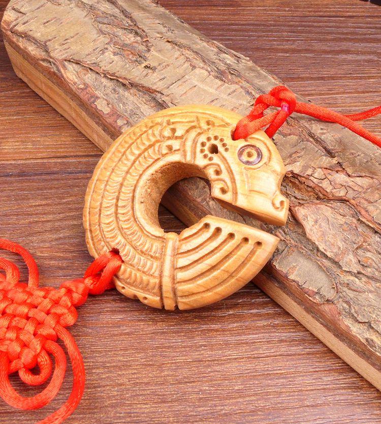 Long Yi Chi dragon bois sculpture pendentif pendentif zodiaque dragon univers voiture Jushi 2050215 - 4