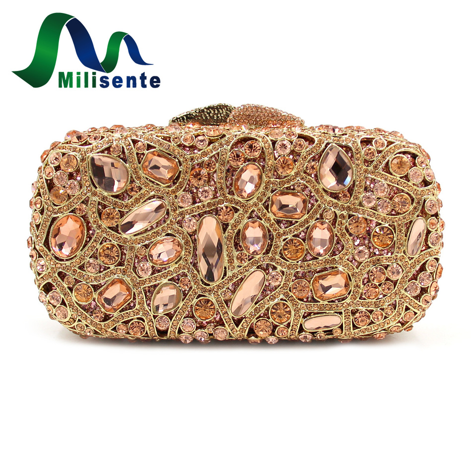 Milisente Gold Clutch Purse Precious Stone Noble Crystal Clutches Women Evening Bags Banquet Party Bag Chain Luxury Handbags luxury designer gold clutches flap women evening bags long chain tassel shoulder bag wedding party rhinestone clutch purse l897