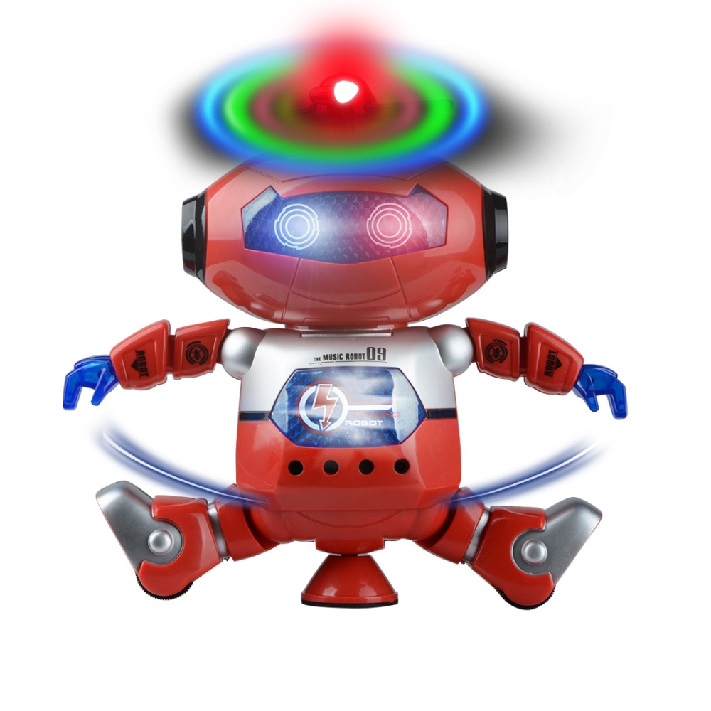 1pcs Dance Robot Electronic Walking Toys With 360 Rotating Smart Music Light Gift For Kids Astronaut Toy to Child New Year Gift genuine peppa pig 44cm cartoon peppa s toy ukulele kids toys gift fun to learn perfect way for kids to get started with music