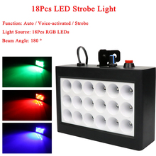 Sound Music Control 18W RGB Led Stage Effect Lighting DJ Party Show Strobe Disco Light Laser Projector Club Bar Wedding 2pcs lot high brightness king kong strobe 8p 200w led strobe dmx512 sound control party disco dj bar light show projector strobe