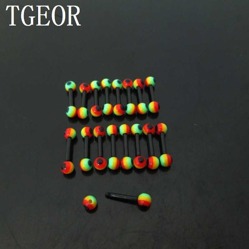 Miễn phí vận chuyển cơ thể piercing đồ trang sức 1 Cặp rasta reggae lưỡi vòng barbell linh hoạt acrylic labret piercing vành lông mày vòng
