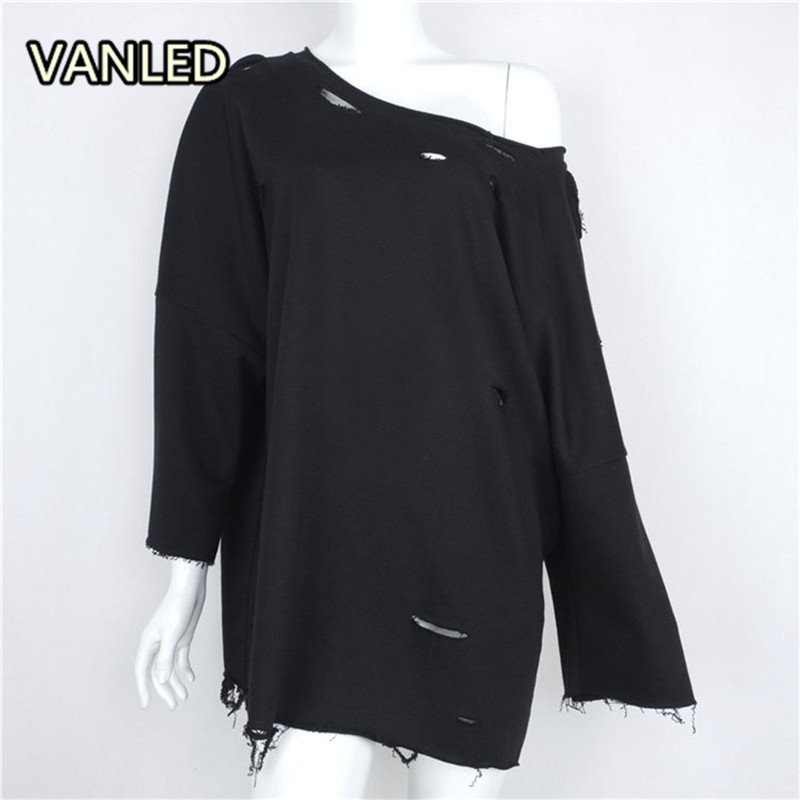 New Casual Solid Color Frayed Holes Sexy Long Sweatshirts O-neck Sexy Soft Dress NZ