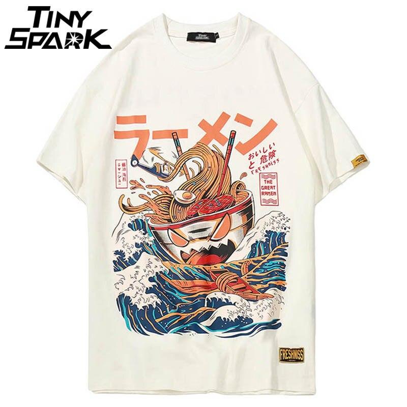 Japanese Harajuku T Shirt Men 2018 Summer Hip Hop T Shirts Noodle Ship Cartoon Streetwear Tshirts