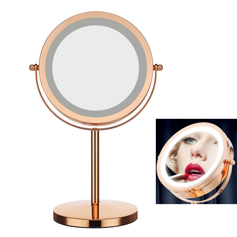 7 Inch 5x Magnification Cosmetic Makeup Mirror Round Shape 2Sided Rotating Magnifier Mirror LED Light Gold Makeup Mirror 6 inch 5x magnification cosmetic makeup mirror round shape 2sided rotating magnifier mirror led light makeup mirror for gift