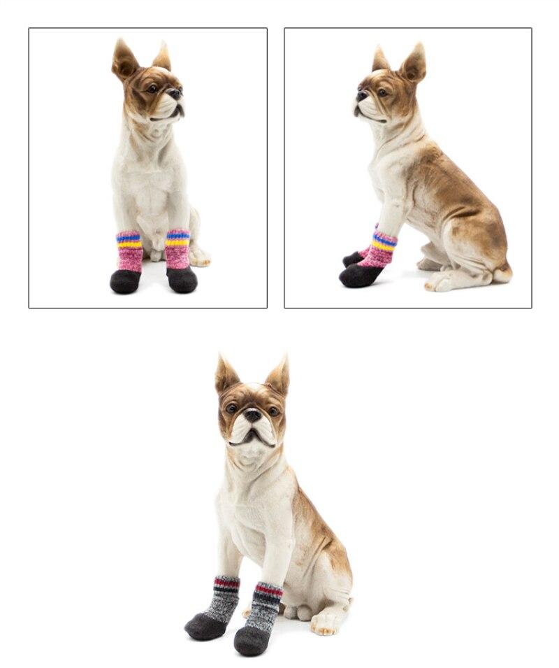 Теплые носки для кошек, зимние шерстяные носки с петлями, носки для собак, Samiye Dobermanns pomeria, боди с чулками, носки для собак, зимние носки для домашних животных