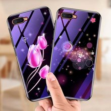 For OPPO K1 Case Tempered Glass Bumper Blue Ray Flower Deer Coque Back Cover for R15X fundas shell capa