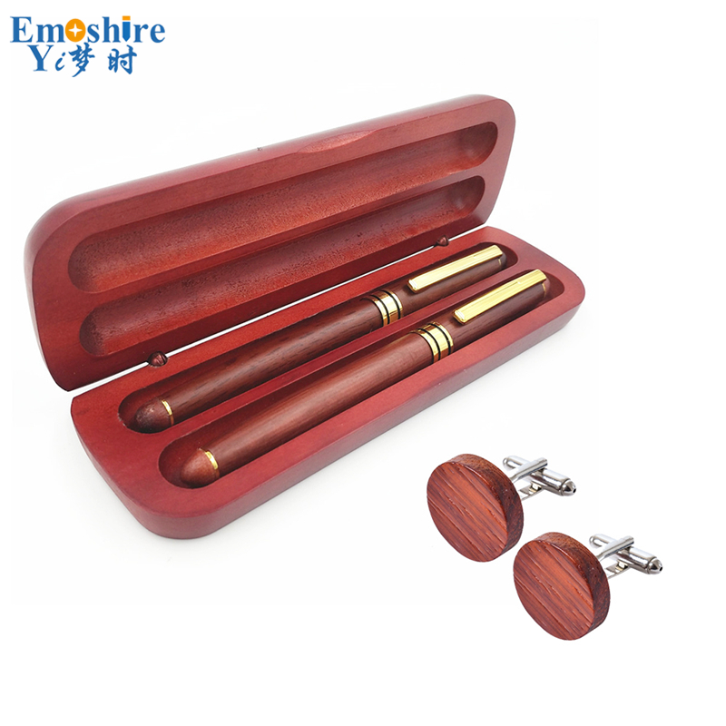 Emoshire Retro Fountain Pen Wooden Pen with Gift Box OEM Brand Roller Ball Pen with Cufflinks Vintage Fountain Pens Set PC012 стоимость