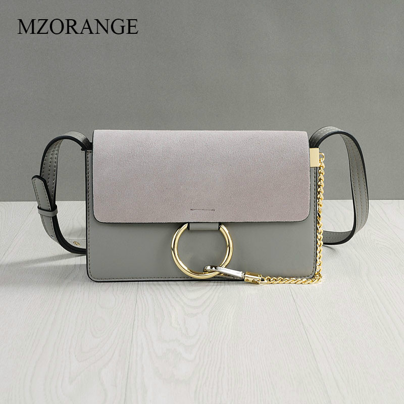 MZORANGE Real Cow Leather Flap Women Bag Vintage Ring Chain Handbag Ladies Mini Serpentine Suede Leather Shoulder Crossbody Bags mzorange fashion genuine leather women handbag vintage hit color design ladies shoulder crossbody bag metal chain small flap bag
