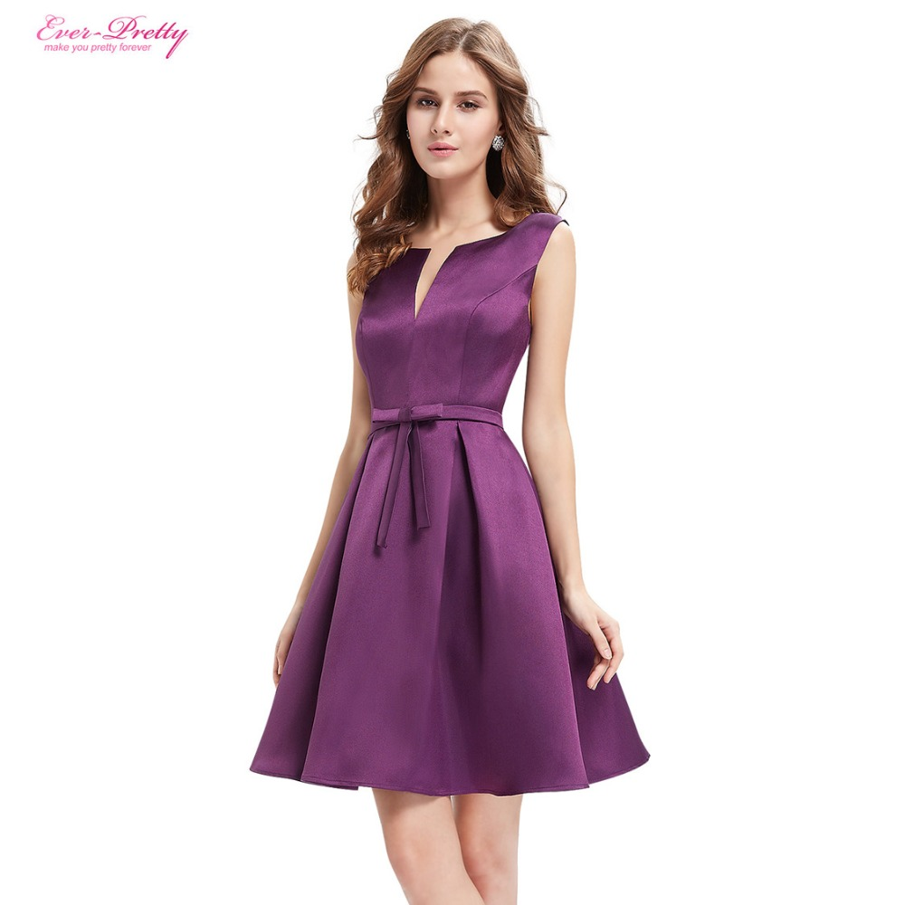 Cocktail Party Dresses Ever Pretty AS03990 Purple Round Neck Chiffon ...