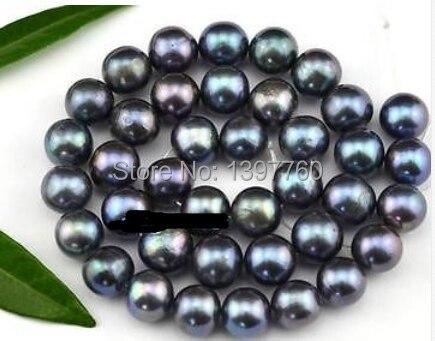 Miss00135 10 11 мм круглые синие фиолетовые бусины с пресноводным жемчугом 15,5