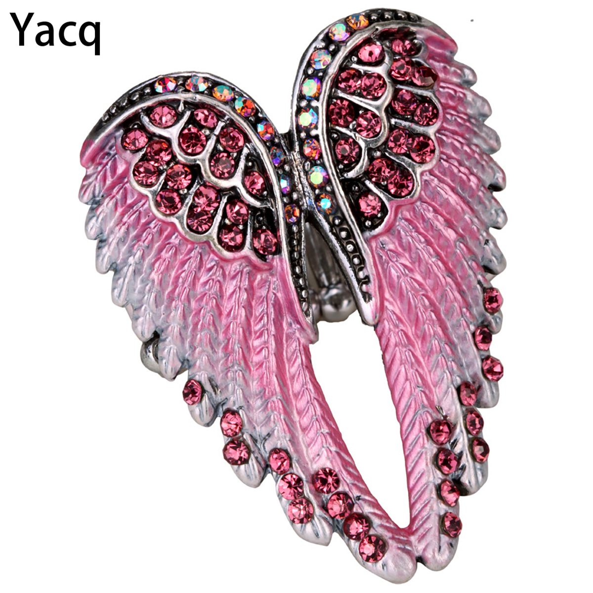 YACQ Angel Wings Stretch Ring skjerf Clasp Spenne Damer Biker Bling Crystal Crystal Smykker Gaver Gullsølvbelagt Dropshipping