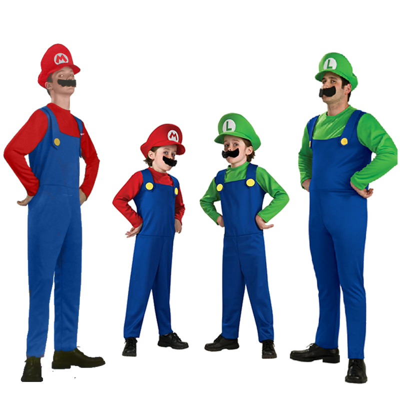Adults and Kids Super Mario Bros Cosplay Costume Set