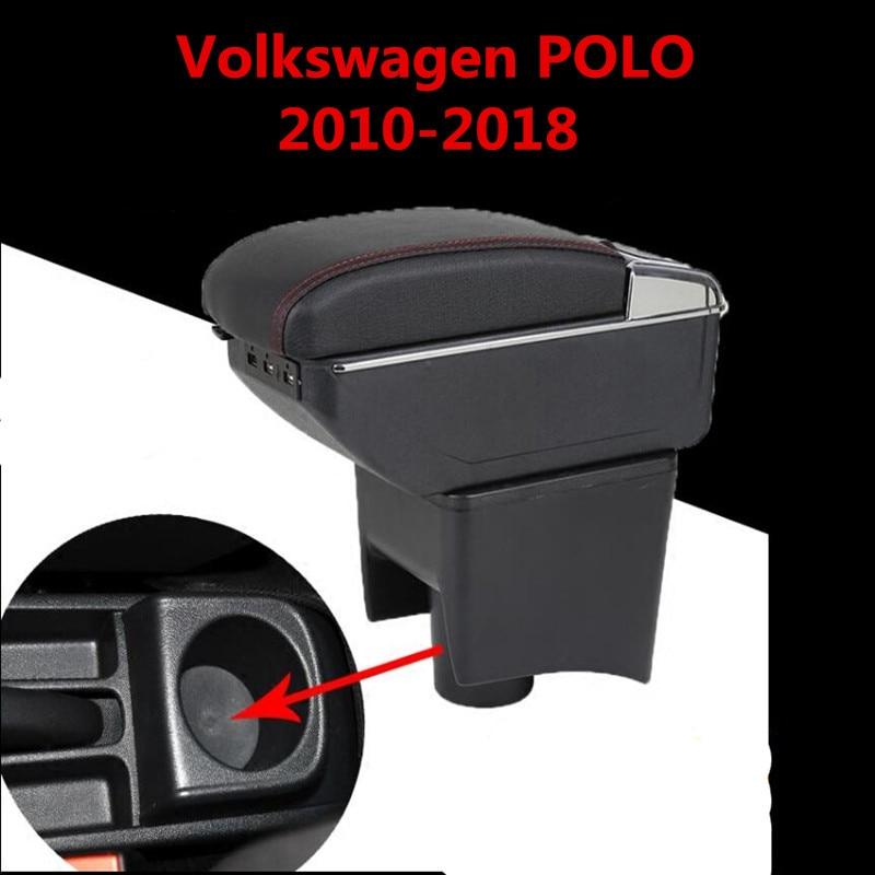 Pour Volkswagen Polo Mk5 6R Vento 2010-2018 accoudoir double couche repose-bras Console centrale bac de rangement 2012 2013 2014