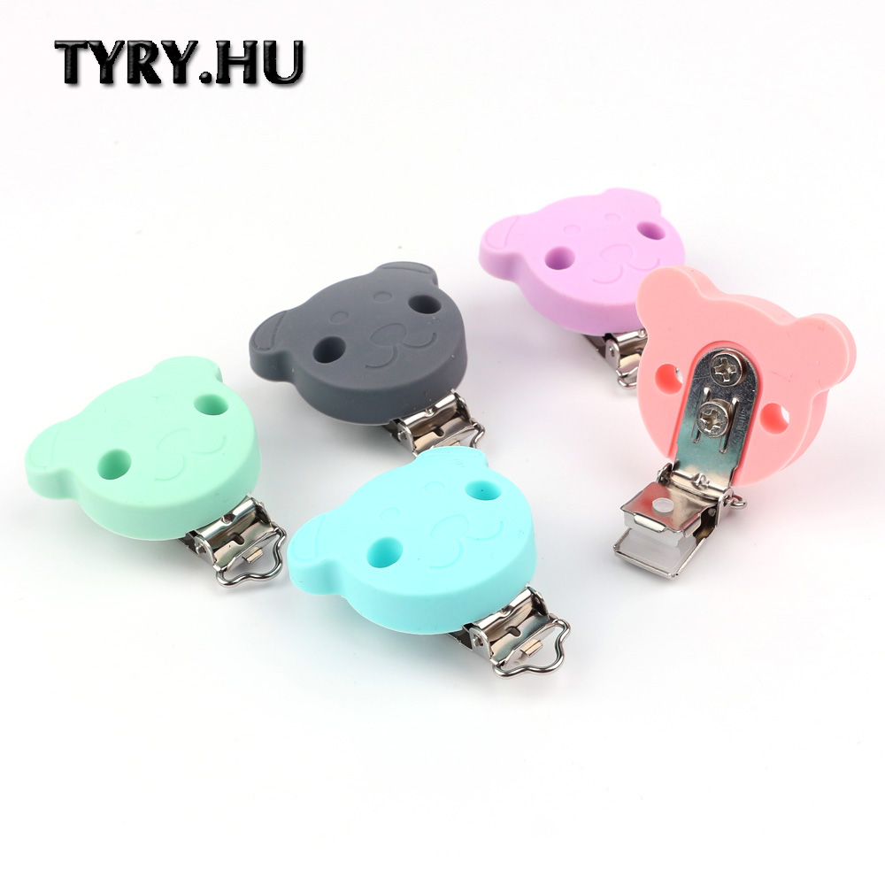 TYRY.HU 100 pcs/lot Pacifier Clip Silicone Baby teething Beads Clip Accessories Clip Food Grade Silicone Nipple Clip
