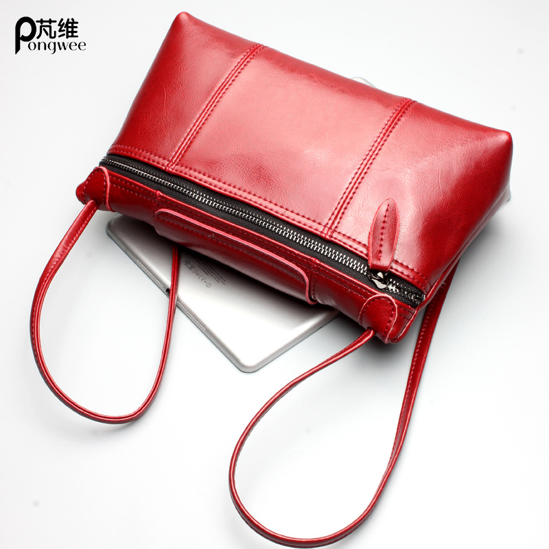 PONGWEE Handbags Brand Designer Women Real Leather Shoulder Bags Vintage Women Messenger Bag Fashion Female Genuine Leather 2017 new arrival designer women leather handbags vintage saddle bag real genuine leather bag for women brand tote bag with rivet