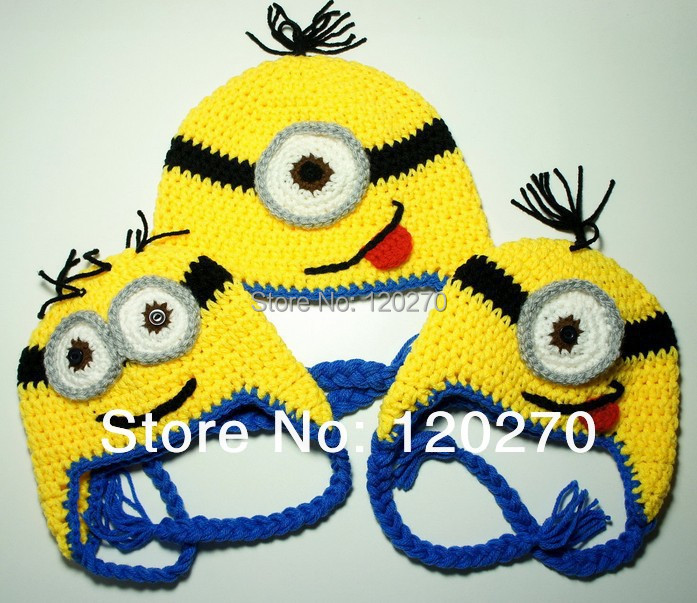 Free Shipping Despicable Me Minion Crochet Hat Pattern Knitted Baby