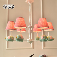 DSQ,Nordic Rural Fresh Elephant Chandelier 3/5/6 Head Simple European style Boy Girl Child Room Chandelier