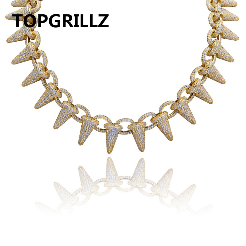 Luxury Iced Out Heavy Punk Rivet Chokers Bling Cubic Zircon Men's Hip hop Necklace Jewelry Gold Silver Color Chain 18 22 topgrillz spikes rivet stud mens rivet charm bracelets 2018 iced out gold silver color bracelets for men hip hop punk jewelry