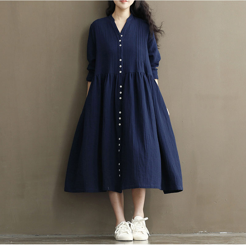 Long Sleeve Cotton Linen Maternity Dress For Pregnant Women Clothes Pregnancy Shirt Gravidas Vestidos 2019 Autumn Dress Spring
