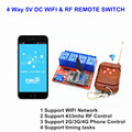 4 way 5 v dc interruptor wifi by aplicativo de telefone inteligente, RF 433 mhz Controle Remoto Sem Fio, momentânea, auto-bloqueio Função Mais do que o itead sonoff