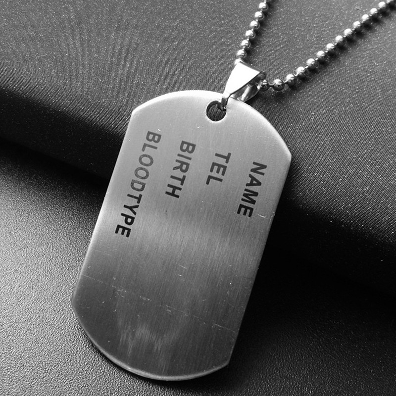 Stainless Steel Military Army Nameplate Dog Tags Chain