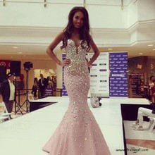 2017 New Luxury Custom Made Long Pink Prom Evening Dresses Bead Sexy Formal Pegeant Gowns