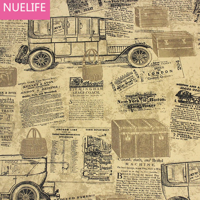 053x10 Meter Retro Alte Zeitung Englisch Alphabet Muster Tapete Hochzeit Wohnzimmer Schlafzimmer Bar Studie Shop