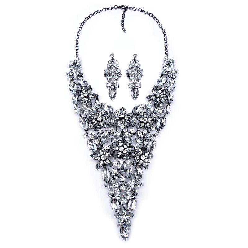 Manersonbig bijoux joyería set crystal choker collar pendiente gema roja grande