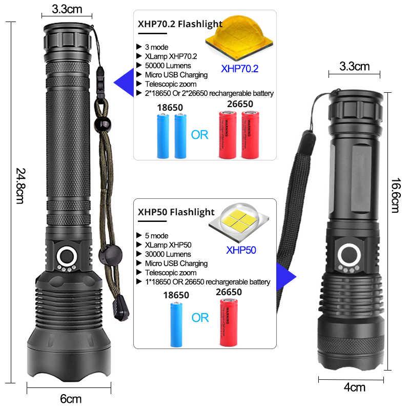 200000LM LED Flashlight XHP70//XHP90 Tactical Torch Hunting Lantern Lamp Zoom