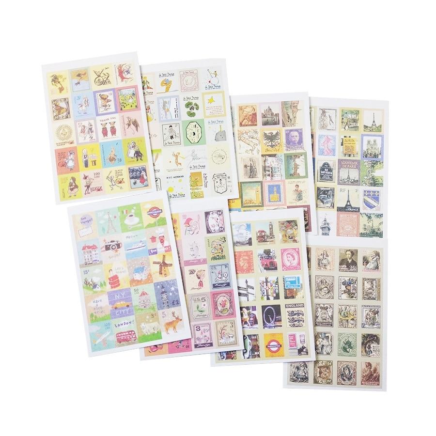 Купить с кэшбэком 30packs/lot Vintage Folding Stamps Stickers DIY Multifunction sticker Romantic label home Decoration Various styles wholesale