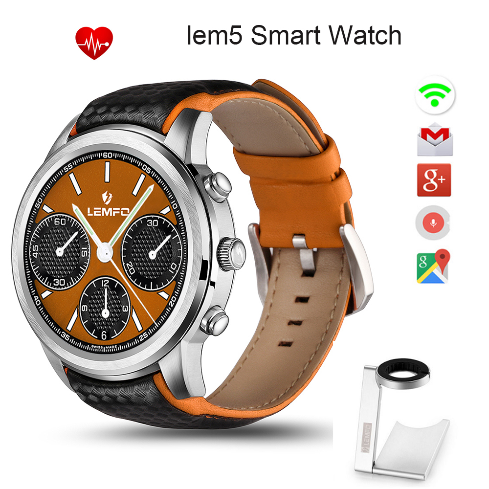 2016 New Wearable Devices LEM5 Smart Watch Android Connected Clock WRISTWATCH Support SIM Card Phone Smartwatch