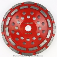 Professional Diamond Double Row Grinding Cup Wheel For Concrete Diameter 7 180mm Bore 22 23mm With16mm