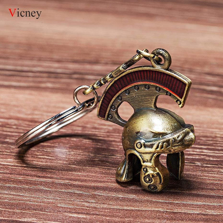 Vicney Newest Vintage Italia Roman Knight Helmet Keychain Retro Roman Helmet Key Chain Roman Centurion Helmet Key Ring As A Gift