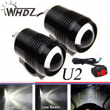 Set 2pcs 12v 30w U2 Led Spot Light Bicycle Motorcycle Car Boat motorcycles Headlight Lamp with switch as gift