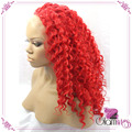 Red Deep Wavy Synthetic Lace Front Wigs Heat Resistant Fibers Hair For Afro Women