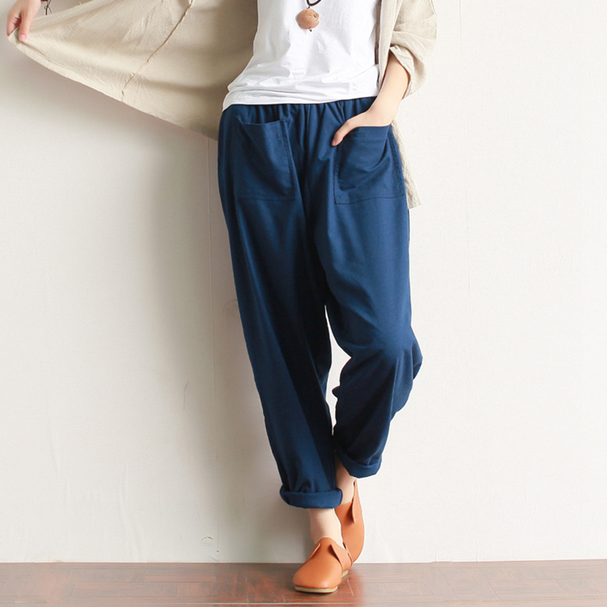 Popular Casual Pants Elastic Waist Loose Solid Ankle Length Pants Women