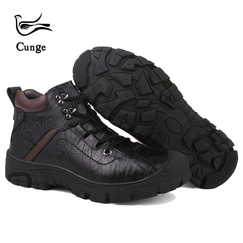 cunge men black boots Genuine Leather plush Hiking Shoes Waterproof keep warm climbing camping hiking boot